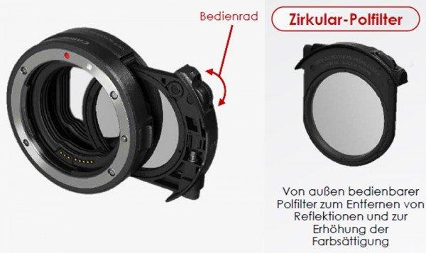 Canon Adapter EF-EOS R mit Graufilter Einsteckfilter (C-PL)
