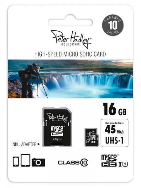 Peter Hadley microSDHC HighSpeed Class10 UHS-1 16GB inkl. Adapter