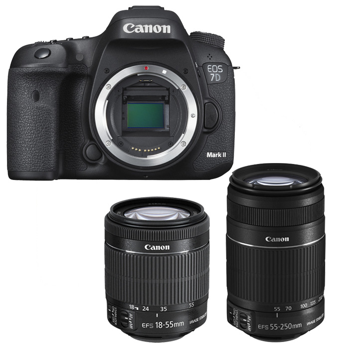 canon eos 7d mark ii canon ef s 18 55mm is stm canon ef s 55 250mm is ii ebay. Black Bedroom Furniture Sets. Home Design Ideas