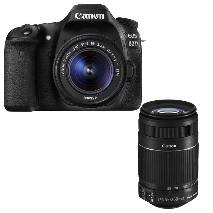 canon eos 80d canon ef s 18 55mm is stm canon ef s 55 250mm is ii ebay. Black Bedroom Furniture Sets. Home Design Ideas